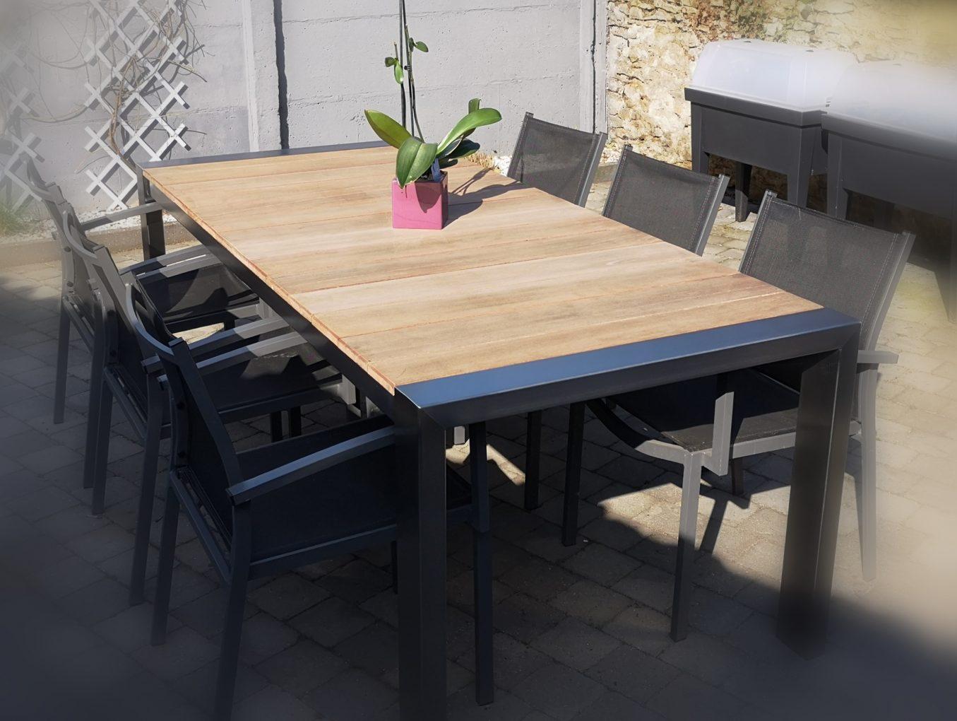 Table de salon de jardin inox et bois merbau - Spaninox